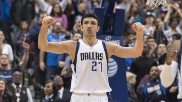 Jan 18, 2016; Dallas, TX, USA; Dallas Mavericks center Zaza Pachulia (27) celebrates during the second half of the game against the Boston Celtics at the American Airlines Center. The Mavericks defeat the Celtics 118-113 in overtime. Mandatory Credit: Jerome Miron-USA TODAY Sports