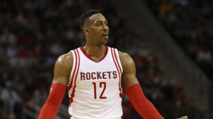 Jan 10, 2016; Houston, TX, USA; Houston Rockets center Dwight Howard (12) reacts after a play during the second quarter against the Indiana Pacers at Toyota Center. Mandatory Credit: Troy Taormina-USA TODAY Sports