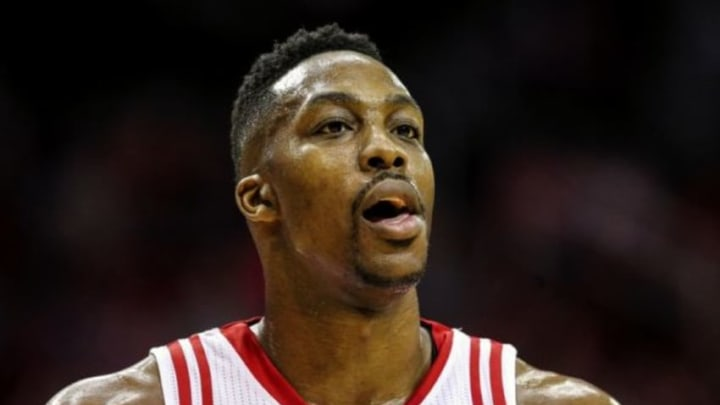 Jan 30, 2016; Houston, TX, USA; Houston Rockets center Dwight Howard (12) reacts after a play during the second half against the Washington Wizards at Toyota Center. The Wizards won 123-122. Mandatory Credit: Troy Taormina-USA TODAY Sports