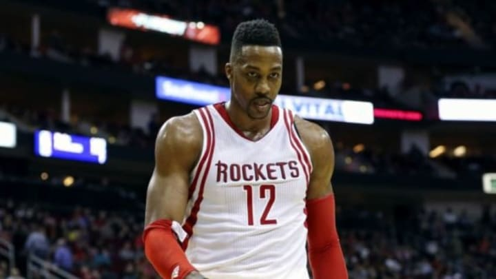 Jan 30, 2016; Houston, TX, USA; Houston Rockets center Dwight Howard (12) walks off the court after being ejected during the fourth quarter against the Washington Wizards at Toyota Center. The Wizards won 123-122. Mandatory Credit: Troy Taormina-USA TODAY Sports