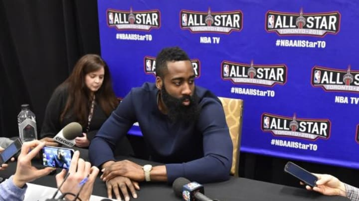 Feb 12, 2016; Toronto, Ontario, Canada; Western Conference guard James Harden of the Houston Rockets (13) speaks during media day for the 2016 NBA All Star Game at Sheraton Centre. Mandatory Credit: Bob Donnan-USA TODAY Sports