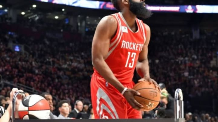 Feb 13, 2016; Toronto, Ontario, Canada; Houston Rockets guard James Harden competes in the three-point contest during the NBA All Star Saturday Night at Air Canada Centre. Mandatory Credit: Bob Donnan-USA TODAY Sports