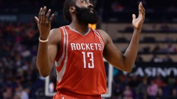 Feb 4, 2016; Phoenix, AZ, USA; Houston Rockets guard James Harden (13) reacts on the court at Talking Stick Resort Arena. Mandatory Credit: Jennifer Stewart-USA TODAY Sports