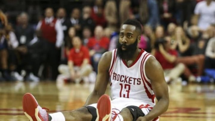 Jan 10, 2016; Houston, TX, USA; Houston Rockets guard James Harden (13) sits on the court after a play during the fourth quarter against the Indiana Pacers at Toyota Center. Mandatory Credit: Troy Taormina-USA TODAY Sports