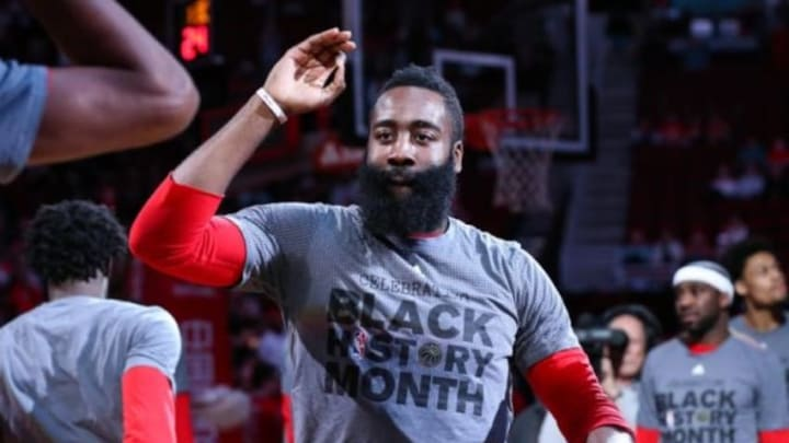 Feb 2, 2016; Houston, TX, USA; Houston Rockets guard James Harden (13) is introduced before a game against the Miami Heat at Toyota Center. Mandatory Credit: Troy Taormina-USA TODAY Sports