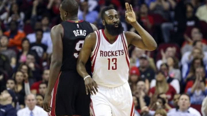Feb 2, 2016; Houston, TX, USA; Houston Rockets guard James Harden (13) celebrates after making a basket during the fourth quarter against the Miami Heat at Toyota Center. The Rockets won 115-102. Mandatory Credit: Troy Taormina-USA TODAY Sports