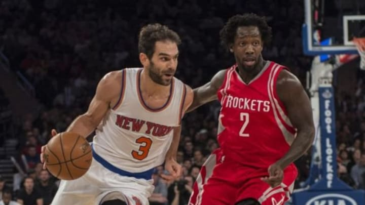 Nov 29, 2015; New York, NY, USA; New York Knicks point guard Jose Calderon (3) drives the ball up the court with Houston Rockets point guard Patrick Beverley (2) defending during the 3rd quarter of the game at Madison Square Garden. The Rockets won 116-111. Mandatory Credit: Gregory J. Fisher-USA TODAY Sports