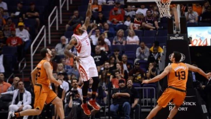 Feb 19, 2016; Phoenix, AZ, USA; Houston Rockets center Josh Smith (5) shoots against the Phoenix Suns during the first half at Talking Stick Resort Arena. Mandatory Credit: Joe Camporeale-USA TODAY Sports
