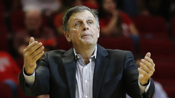 Nov 16, 2015; Houston, TX, USA; Houston Rockets head coach Kevin McHale calls for a timeout agains the Boston Celtics in the second half at Toyota Center. Celtics won 111 to 95. Mandatory Credit: Thomas B. Shea-USA TODAY Sports