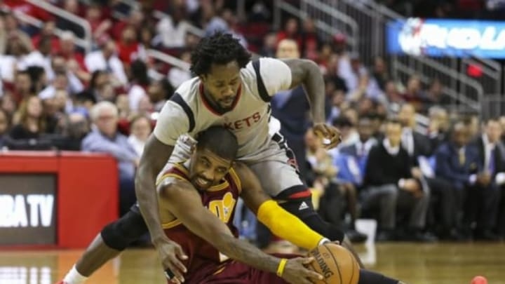 Jan 15, 2016; Houston, TX, USA; Houston Rockets guard Patrick Beverley (2) and Cleveland Cavaliers guard Kyrie Irving (2) battle for the ball during the third quarter at Toyota Center. The Cavaliers won 91-77. Mandatory Credit: Troy Taormina-USA TODAY Sports