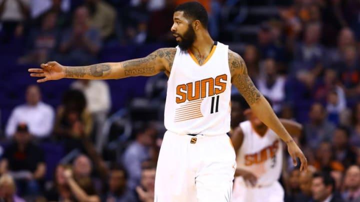 Nov 25, 2015; Phoenix, AZ, USA; Phoenix Suns forward Markieff Morris celebrates after a three pointer against the New Orleans Pelicans at Talking Stick Resort Arena. Mandatory Credit: Mark J. Rebilas-USA TODAY Sports