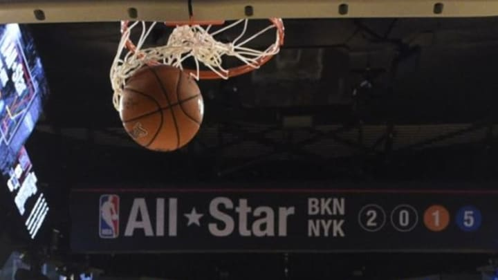 February 15, 2015; New York, NY, USA; The ball goes through the net during the second half of the 2015 NBA All-Star Game at Madison Square Garden. The West defeated the East 163-158. Mandatory Credit: Bob Donnan-USA TODAY Sports