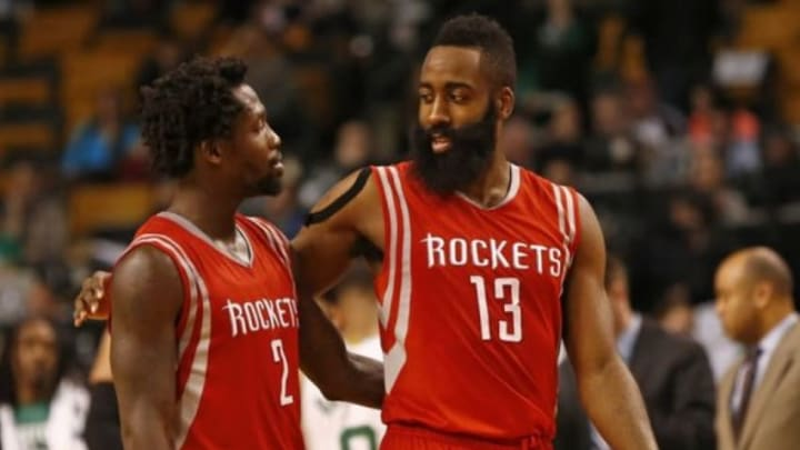 Jan 30, 2015; Boston, MA, USA; Houston Rockets guard Patrick Beverley (2) and guard James Harden (13) celebrate against the Boston Celtics during the second half at TD Garden. Mandatory Credit: Mark L. Baer-USA TODAY Sports