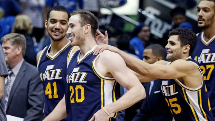 Feb 9, 2016; Dallas, TX, USA; Utah Jazz forward Gordon Hayward (20) celebrates with forward Trey Lyles (41) and guard Raul Neto (25) after making the game winning shot in overtime to defeat the Dallas Mavericks at American Airlines Center. Mandatory Credit: Kevin Jairaj-USA TODAY Sports