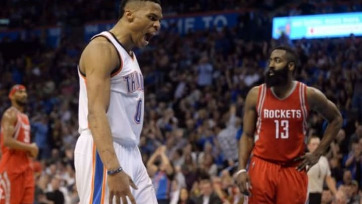 Jan 29, 2016; Oklahoma City, OK, USA; Oklahoma City Thunder guard Russell Westbrook (0) reacts after a play against the Houston Rockets during the fourth quarter at Chesapeake Energy Arena. Mandatory Credit: Mark D. Smith-USA TODAY Sports