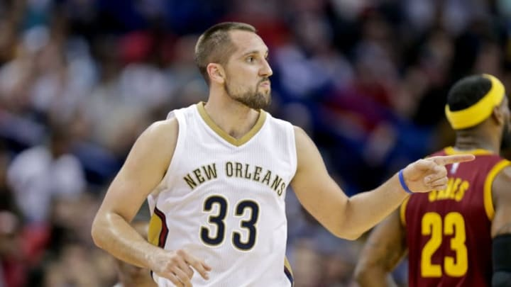 Dec 12, 2014; New Orleans, LA, USA; New Orleans Pelicans forward Ryan Anderson (33) reacts after scoring on a three point basket against the Cleveland Cavaliers during the second half of a game at the Smoothie King Center. The Pelicans defeated the Cavaliers 119-114. Mandatory Credit: Derick E. Hingle-USA TODAY Sports