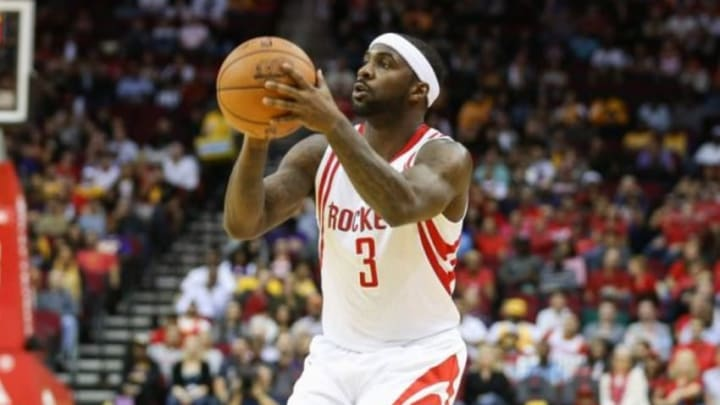 Dec 12, 2015; Houston, TX, USA; Houston Rockets guard Ty Lawson (3) shoots the ball during a game against the Los Angeles Lakers at Toyota Center. Mandatory Credit: Troy Taormina-USA TODAY Sports