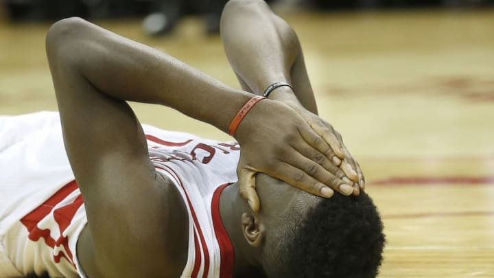 Mar 25, 2016; Houston, TX, USA; Houston Rockets forward Clint Capela (15) reacts on the court against the Toronto Raptors in the second half at Toyota Center. The Rockets won 112-109. Mandatory Credit: Thomas B. Shea-USA TODAY Sports