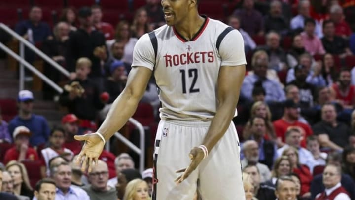 Jan 15, 2016; Houston, TX, USA; Houston Rockets center Dwight Howard (12) reacts after a call during the second quarter against the Cleveland Cavaliers at Toyota Center. Mandatory Credit: Troy Taormina-USA TODAY Sports
