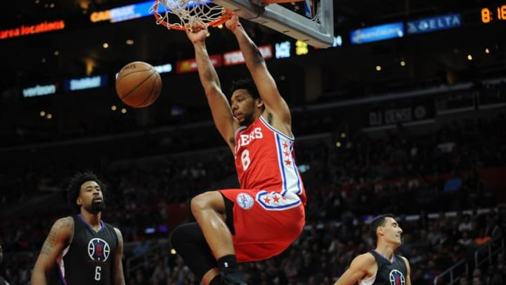 January 2, 2016; Los Angeles, CA, USA; Philadelphia 76ers center Jahlil Okafor (8) dunks to score a basket against Los Angeles Clippers during the first half at Staples Center. Mandatory Credit: Gary A. Vasquez-USA TODAY Sports