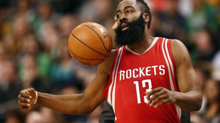 Mar 11, 2016; Boston, MA, USA; Houston Rockets guard James Harden (13) chases a loose ball during the first half of a game against the Boston Celtics at TD Garden. Mandatory Credit: Mark L. Baer-USA TODAY Sports