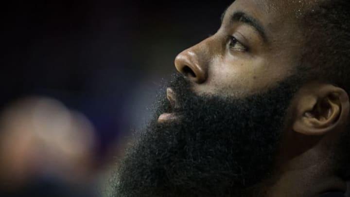 Mar 9, 2016; Philadelphia, PA, USA; Houston Rockets guard James Harden (13) prior to action against the Philadelphia 76ers at Wells Fargo Center. Mandatory Credit: Bill Streicher-USA TODAY Sports