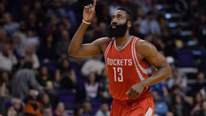 Feb 4, 2016; Phoenix, AZ, USA; Houston Rockets guard James Harden (13) points up in the game against the Phoenix Suns at Talking Stick Resort Arena. Mandatory Credit: Jennifer Stewart-USA TODAY Sports