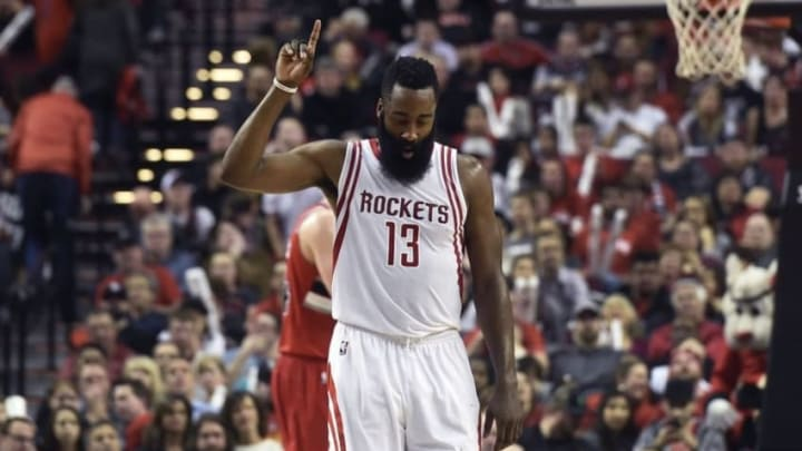 Feb 25, 2016; Portland, OR, USA; Houston Rockets guard James Harden (13) reacts to hitting a shot during the fourth quarter of the game against the Portland Trail Blazers at the Moda Center at the Rose Quarter. Harden scored 46 points as the Rockets won the game 119-105. Mandatory Credit: Steve Dykes-USA TODAY Sports