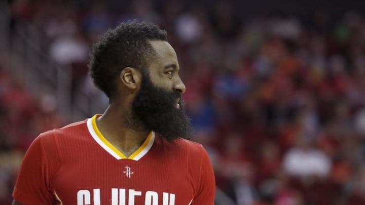 Mar 16, 2016; Houston, TX, USA; Houston Rockets guard James Harden (13) reacts after a foul was called on him while playing against the Los Angeles Clippers in the second half at Toyota Center. The Clippers won 122-106. Mandatory Credit: Thomas B. Shea-USA TODAY Sports