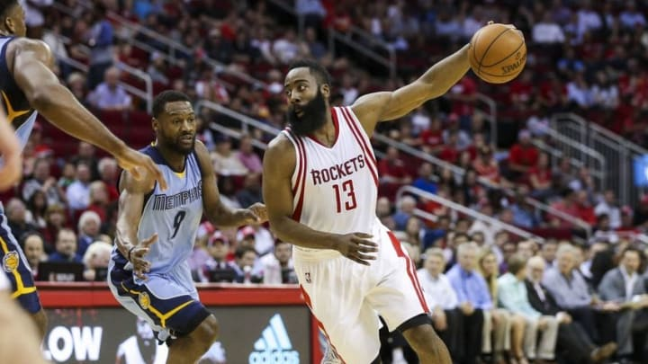 Mar 14, 2016; Houston, TX, USA; Houston Rockets guard James Harden (13) dribbles the ball during the second quarter against the Memphis Grizzlies at Toyota Center. Mandatory Credit: Troy Taormina-USA TODAY Sports