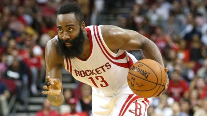 Feb 27, 2016; Houston, TX, USA; Houston Rockets guard James Harden (13) during the game against the San Antonio Spurs at Toyota Center. Mandatory Credit: Troy Taormina-USA TODAY Sports