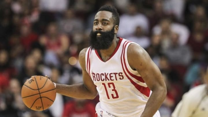 Feb 27, 2016; Houston, TX, USA; Houston Rockets guard James Harden (13) brings the ball up the court during the third quarter against the San Antonio Spurs at Toyota Center. Mandatory Credit: Troy Taormina-USA TODAY Sports