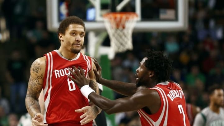 Mar 11, 2016; Boston, MA, USA; Houston Rockets forward Michael Beasley (left) and guard Patrick Beverley (2) celebrate against the Boston Celtics during the second half at TD Garden. Mandatory Credit: Mark L. Baer-USA TODAY Sports