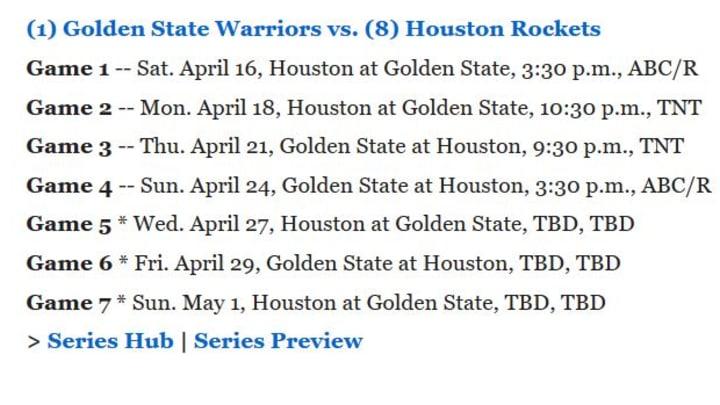 Rockets vs Warriors playoff schedule