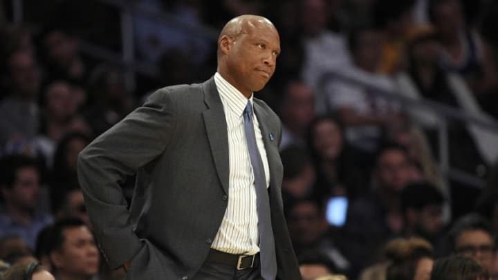 Mar 18, 2016; Los Angeles, CA, USA; Los Angeles Lakers head coach Byron Scott reacts during the second half against the Phoenix Suns at Staples Center. The Phoenix Suns won 95-90. Mandatory Credit: Kelvin Kuo-USA TODAY Sports