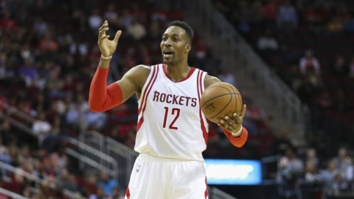 Mar 23, 2016; Houston, TX, USA; Houston Rockets center Dwight Howard (12) calls to a teammate during a play in the third quarter against the Utah Jazz at Toyota Center. The Jazz won 89-87. Mandatory Credit: Troy Taormina-USA TODAY Sports