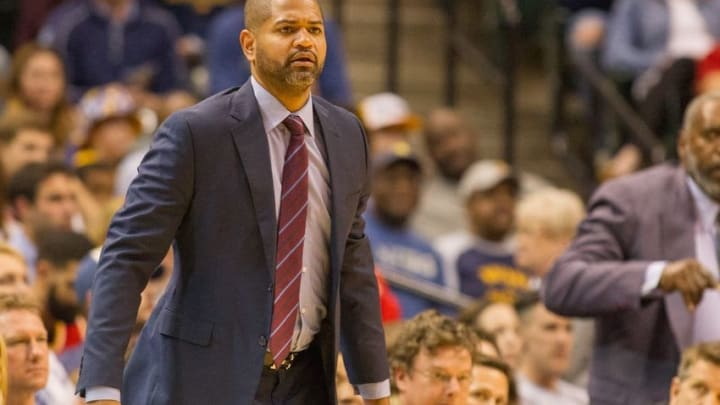 Mar 27, 2016; Indianapolis, IN, USA; Houston Rockets head coach J.B. Bickerstaff on the sideline in the second half of the game against the Indiana Pacers at Bankers Life Fieldhouse. The Indiana Pacers beat the Houston Rockets by the score of 104-101. Mandatory Credit: Trevor Ruszkowski-USA TODAY Sports