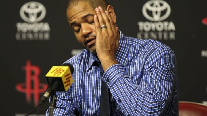 Apr 7, 2016; Houston, TX, USA; Houston Rockets head coach J.B. Bickerstaff speaks to the media after losing against the Phoenix Suns 124-115 at Toyota Center. Mandatory Credit: Troy Taormina-USA TODAY Sports