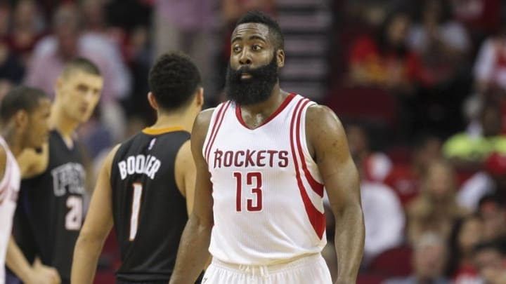 Apr 7, 2016; Houston, TX, USA; Houston Rockets guard James Harden (13) reacts after a play during the second quarter against the Phoenix Suns at Toyota Center. Mandatory Credit: Troy Taormina-USA TODAY Sports