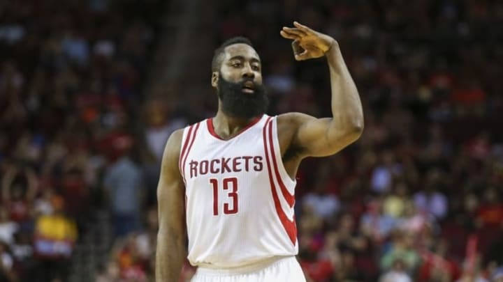 Apr 7, 2016; Houston, TX, USA; Houston Rockets guard James Harden (13) celebrates after scoring during the third quarter against the Phoenix Suns at Toyota Center. Mandatory Credit: Troy Taormina-USA TODAY Sports