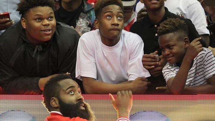 Apr 13, 2016; Houston, TX, USA; Houston Rockets guard James Harden (13) talks to fans after the Rockets defeated the Sacramento Kings at Toyota Center. Rockets won 116 to 81. Mandatory Credit: Thomas B. Shea-USA TODAY Sports