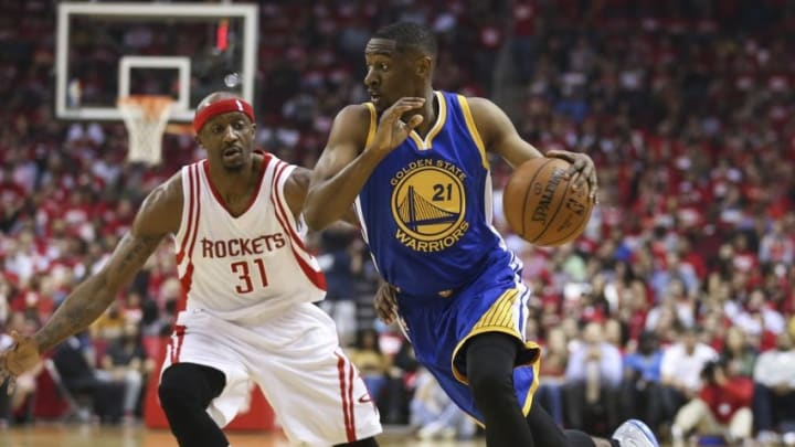 Apr 21, 2016; Houston, TX, USA; Golden State Warriors guard Ian Clark (21) dribbles the ball as Houston Rockets guard Jason Terry (31) defends during the second quarter in game three of the first round of the NBA Playoffs at Toyota Center. Mandatory Credit: Troy Taormina-USA TODAY Sports