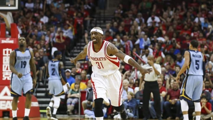 Mar 14, 2016; Houston, TX, USA; Houston Rockets guard Jason Terry (31) celebrates after scoring a basket during the third quarter against the Memphis Grizzlies at Toyota Center. Mandatory Credit: Troy Taormina-USA TODAY Sports