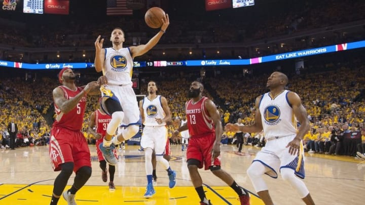 April 16, 2016; Oakland, CA, USA; Golden State Warriors guard Stephen Curry (30) shoots the basketball against Houston Rockets center Josh Smith (5) during the first quarter in game one of the first round of the NBA Playoffs at Oracle Arena. Mandatory Credit: Kyle Terada-USA TODAY Sports