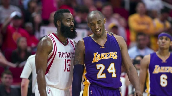 Apr 10, 2016; Houston, TX, USA; Houston Rockets guard James Harden (13) jokes with Los Angeles Lakers forward Kobe Bryant (24) during the second half at the Toyota Center. The Rockets defeat the Lakers 130-110. Mandatory Credit: Jerome Miron-USA TODAY Sports