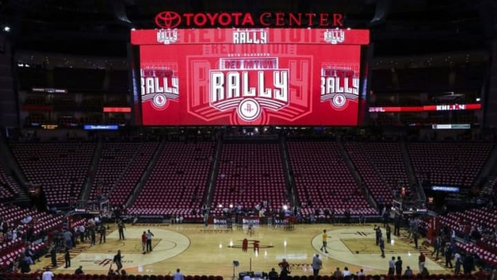 Apr 21, 2016; Houston, TX, USA; General view inside Toyota Center before game three of the first round of the NBA Playoffs between the Houston Rockets and the Golden State Warriors. Mandatory Credit: Troy Taormina-USA TODAY Sports