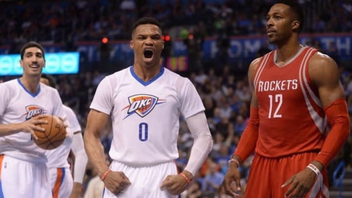 Mar 22, 2016; Oklahoma City, OK, USA; Oklahoma City Thunder guard Russell Westbrook (0) reacts after a play against the Houston Rockets during the fourth quarter at Chesapeake Energy Arena. Mandatory Credit: Mark D. Smith-USA TODAY Sports