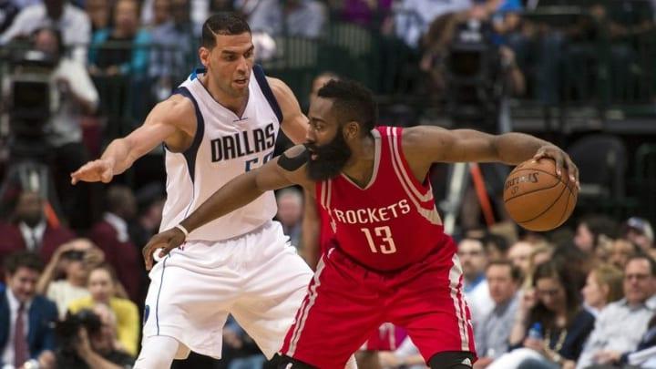Apr 6, 2016; Dallas, TX, USA; Dallas Mavericks center Salah Mejri (50) guards Houston Rockets guard James Harden (13) during the first half at the American Airlines Center. Mandatory Credit: Jerome Miron-USA TODAY Sports