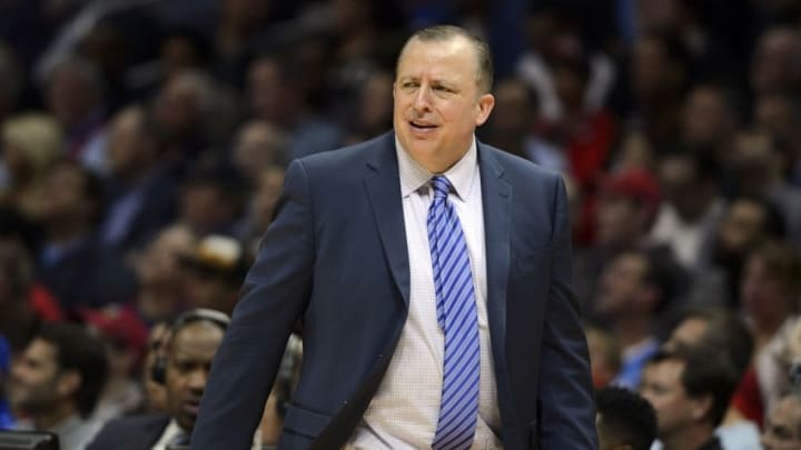 Nov 17, 2014; Los Angeles, CA, USA; Chicago Bulls head coach Tom Thibodeau reacts during the third quarter against the Los Angeles Clippers at Staples Center. The Chicago Bulls defeated the Los Angeles Clippers 105-89. Mandatory Credit: Kelvin Kuo-USA TODAY Sports
