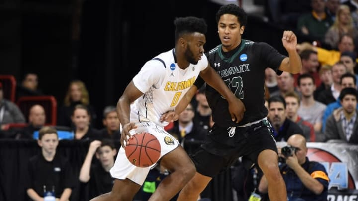 March 18, 2016; Spokane , WA, USA; California Golden Bears forward Jaylen Brown (0) moves to the basket against Hawaii Rainbow Warriors guard Aaron Valdes (32) during the first half of the first round of the 2016 NCAA Tournament at Spokane Veterans Memorial Arena. Mandatory Credit: Kyle Terada-USA TODAY Sports